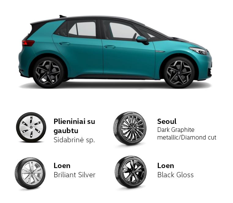 Volkswagen ID.3 padangos ir ratlankiai